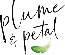 Plume & Petal Logo with feather